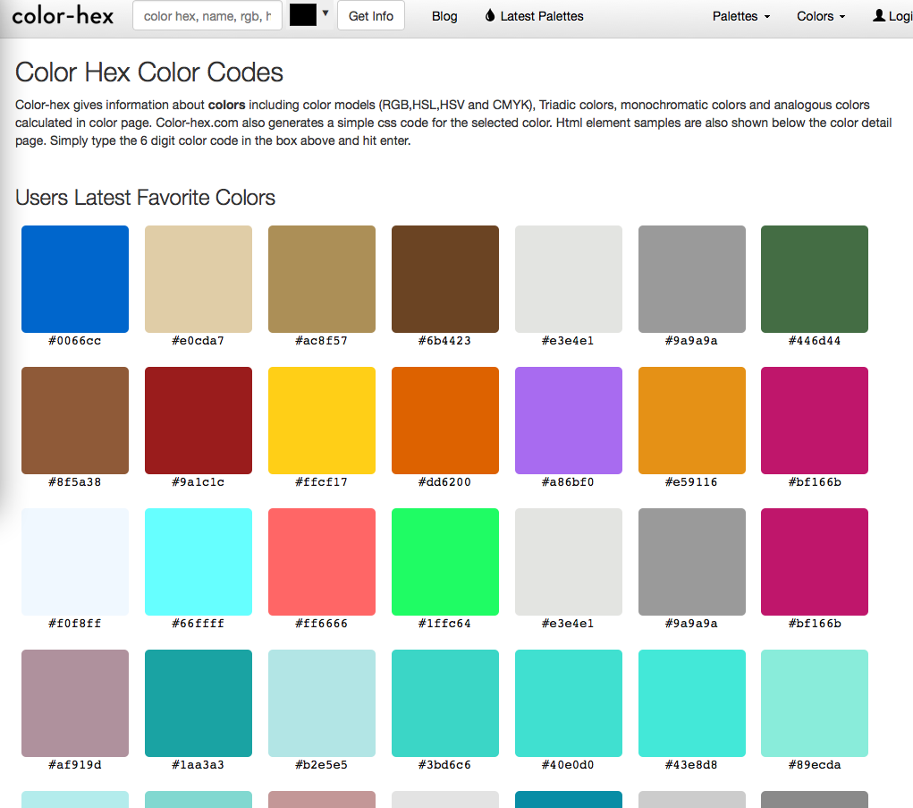 Color hex page for web colors palettes legal design for Web page colors