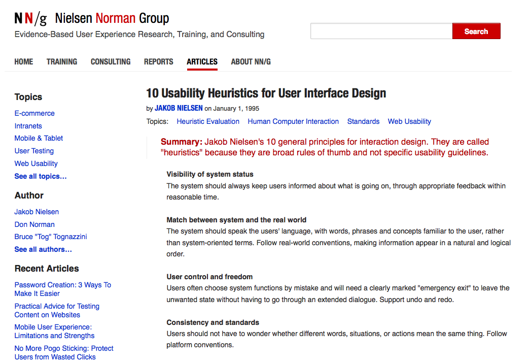 Jakob Nielsen Website Design Guidelines
