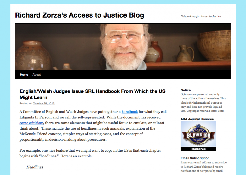 Richard Zorza's Access to Justice blog