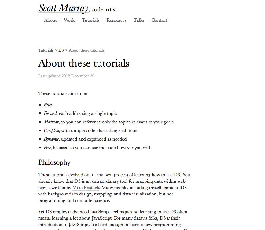 Program for Legal Tech & Design - Scott Murray tutorial D3