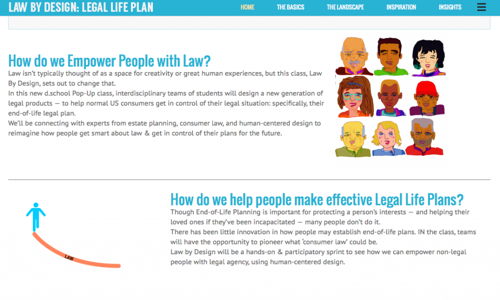 Program for Legal Tech and Design - Law by design dschool class page
