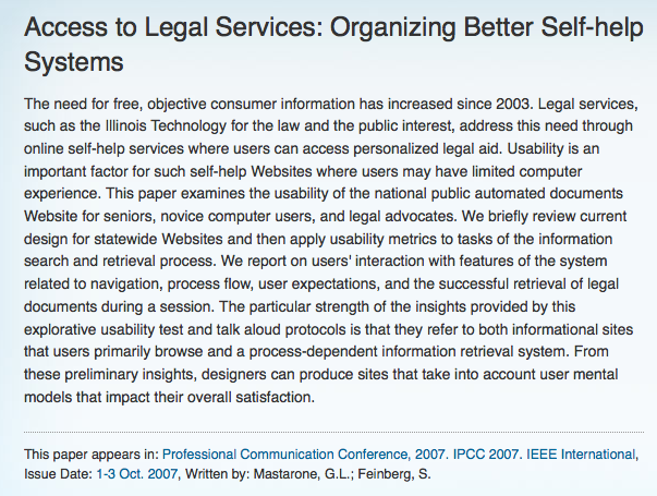 Legal Tech Design - Access to Legal Services usability study of self-help centers