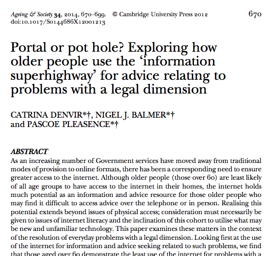 Legal Tech Design - Portal or pot hole - how older people use the internet