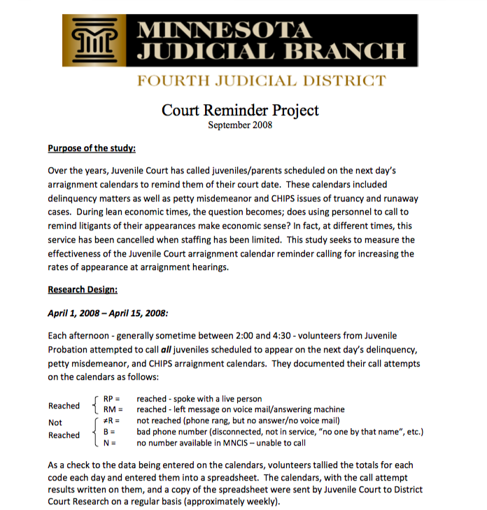 Court Messaging Project - research - Minnesota Court Reminder PRoject