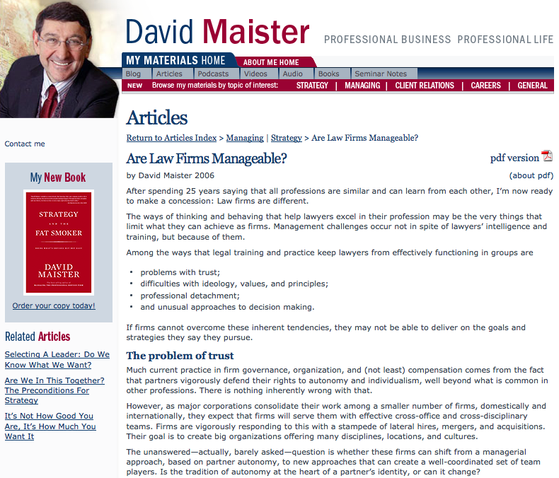 David maister - Are Law Firms Manageable