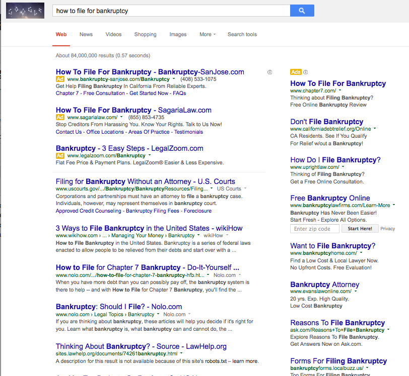 Internet as Legal Resource - Google search results - how to file for bankruptcy