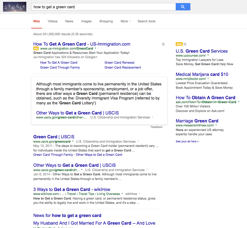 Internet as Legal Resource - Google search results - how to get a green card