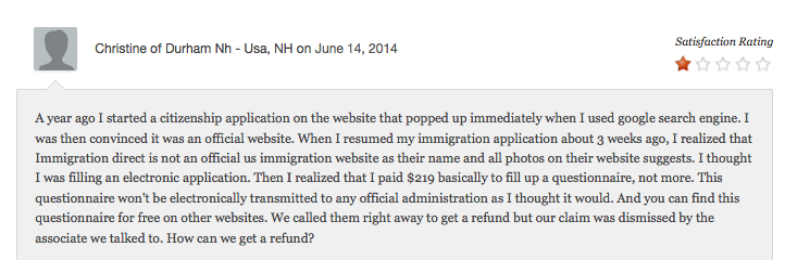 Internet as Legal Resource - complaints against Immigration Direct 3