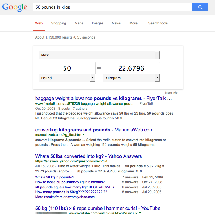 Internet as Legal Service - google search result - converting measurements