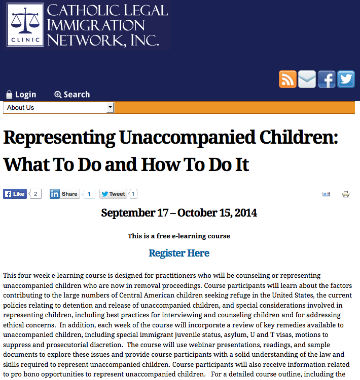 CLINIC - online training to represent unaccompanied children