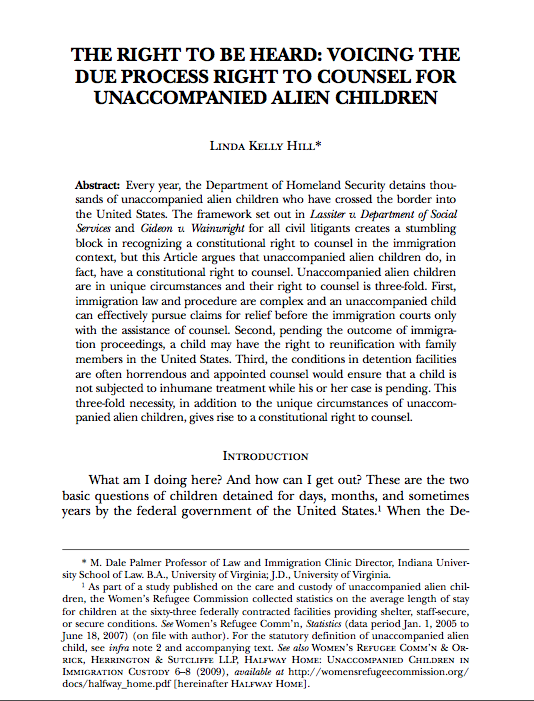 Due Process Right to Counsel for Unaccompanied Alien Children
