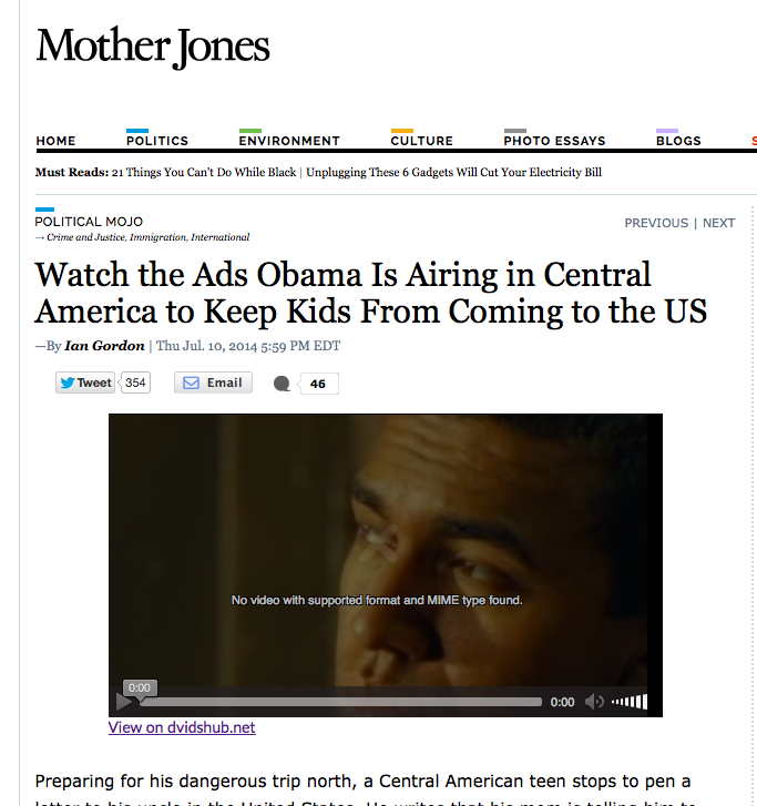 Mother Jones - watch the psas obama shows in the US