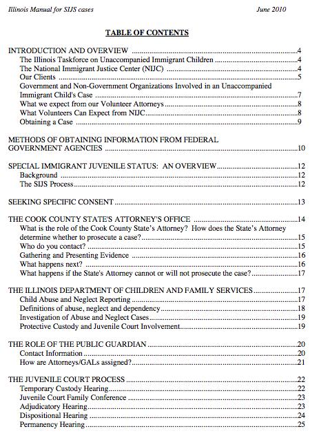 NIJC - SIJ pro bono manual 2