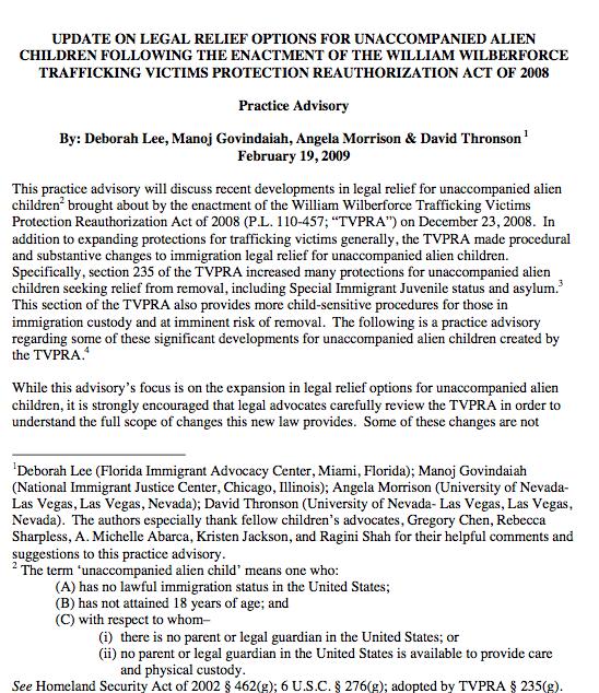 TVPRA Practice Advisory
