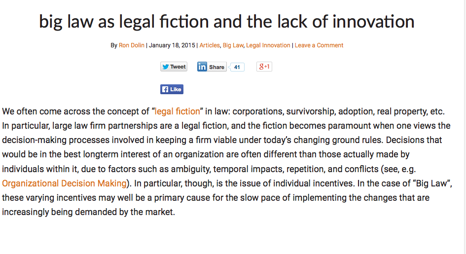 Big Law as LEgal Fiction and the Lack of Innovation
