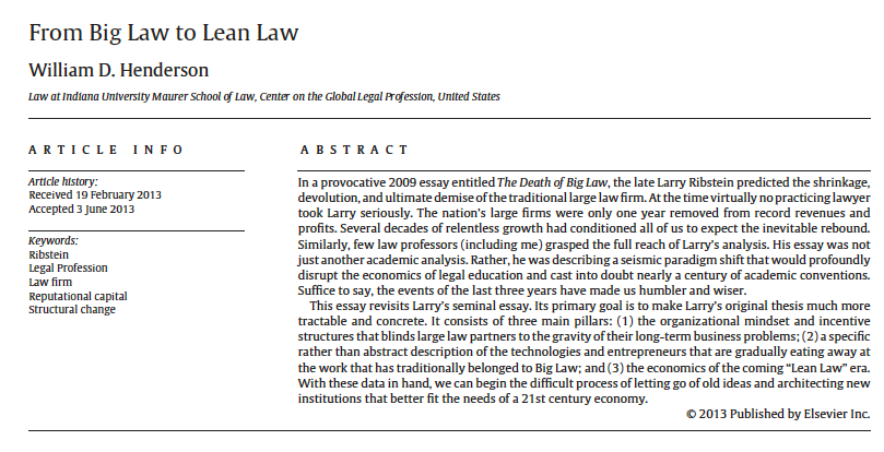 From Big Law to Lean Law