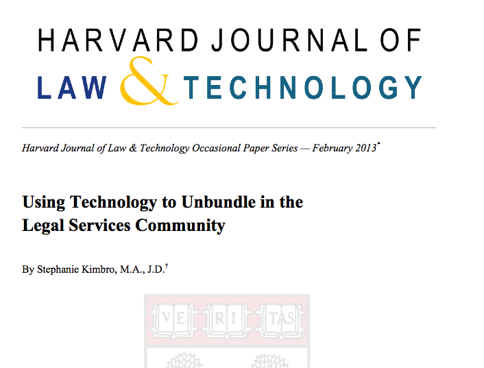 Kimbro - Using Technology to Unbundle in the Legal Services Community