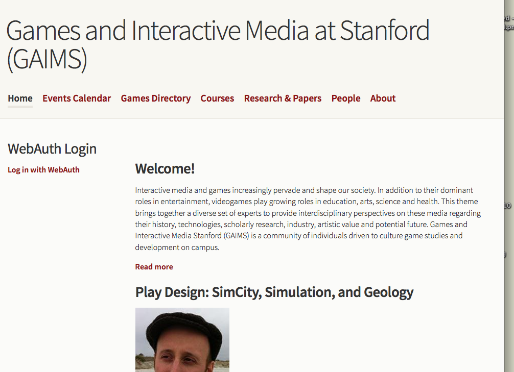 GAIMS games and interactive media at Stanford