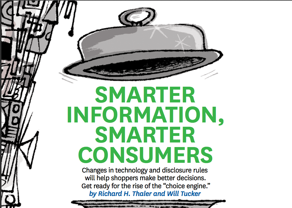 Smarter Information Smarter Consumers - Richard THaler choice engine
